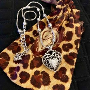 Brighton Silver Heart and Faux Diamond Necklace